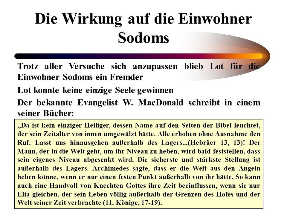 Die Wirkung auf die Einwohner Sodoms