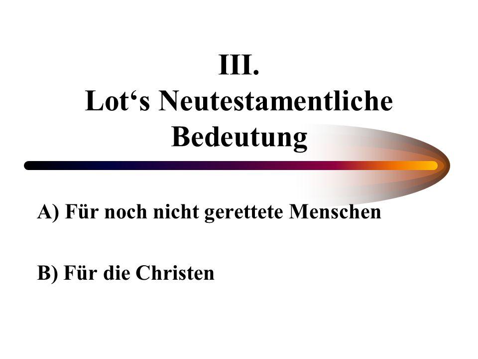 III. Lot's Neutestamentliche Bedeutung