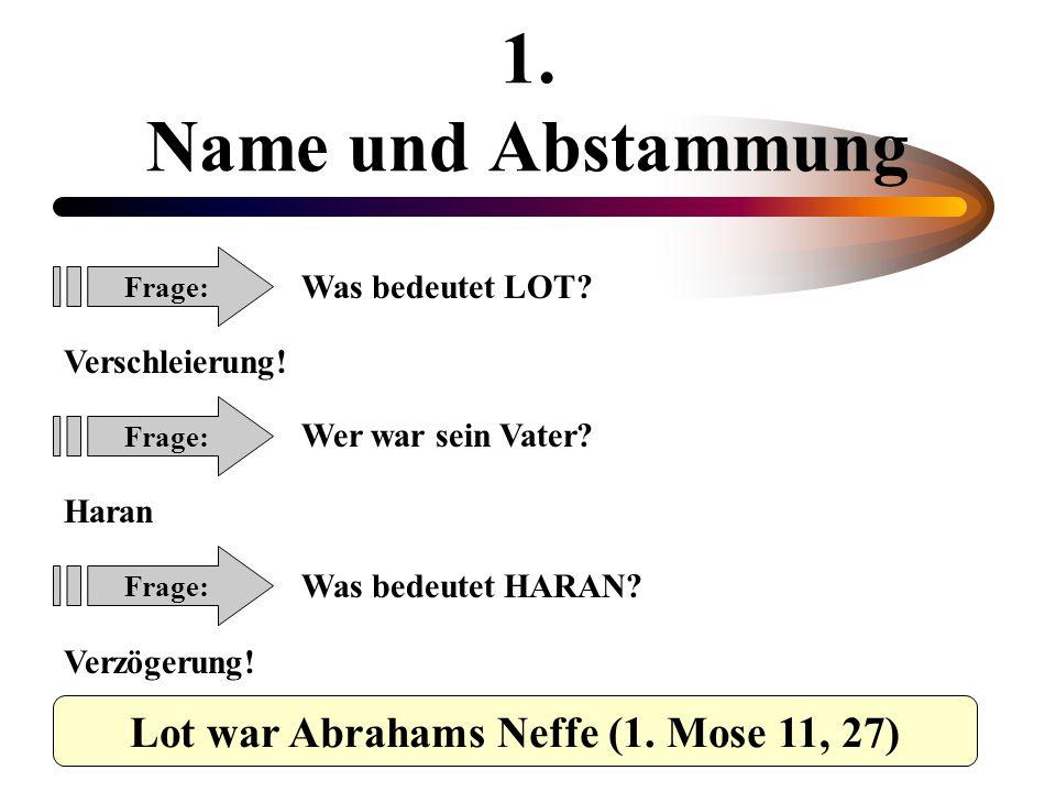 Lot war Abrahams Neffe (1. Mose 11, 27)