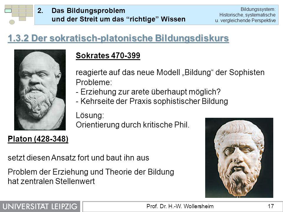 1.3.2 Der sokratisch-platonische Bildungsdiskurs Sokrates 470-399