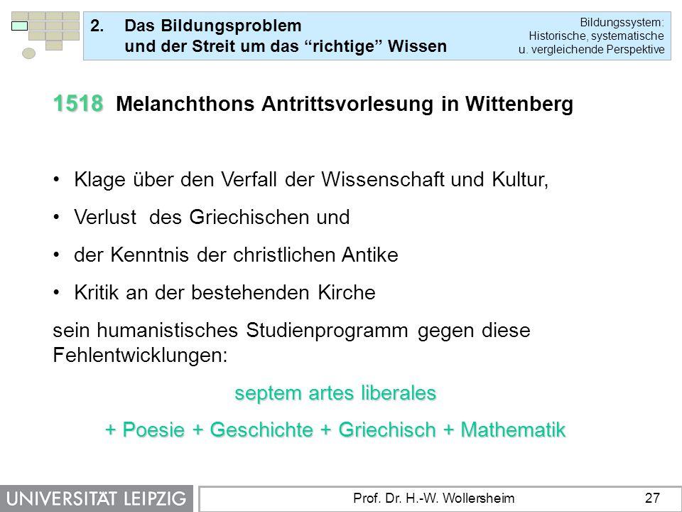 1518 Melanchthons Antrittsvorlesung in Wittenberg