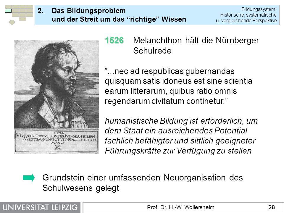1526 Melanchthon hält die Nürnberger Schulrede