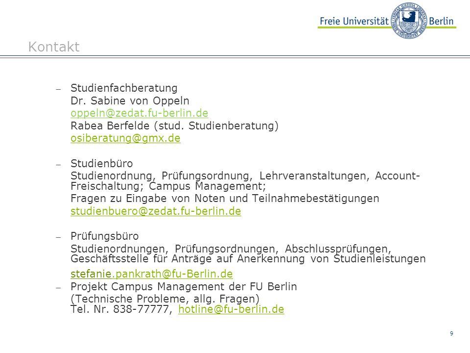 Kontakt Studienfachberatung Dr. Sabine von Oppeln