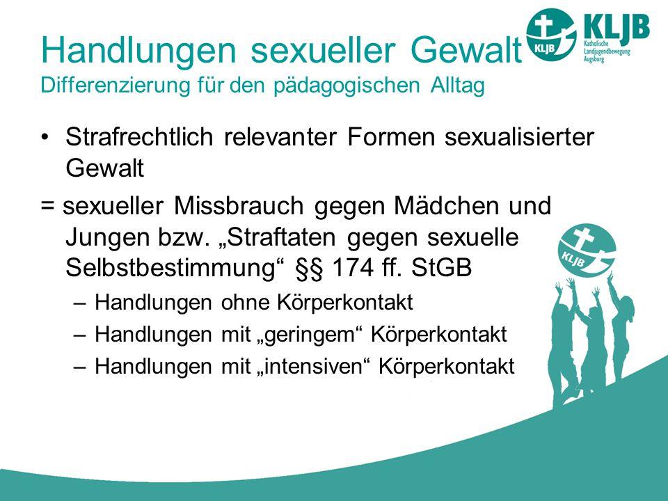 Handlungen sexueller Gewalt Differenzierung für den pädagogischen Alltag