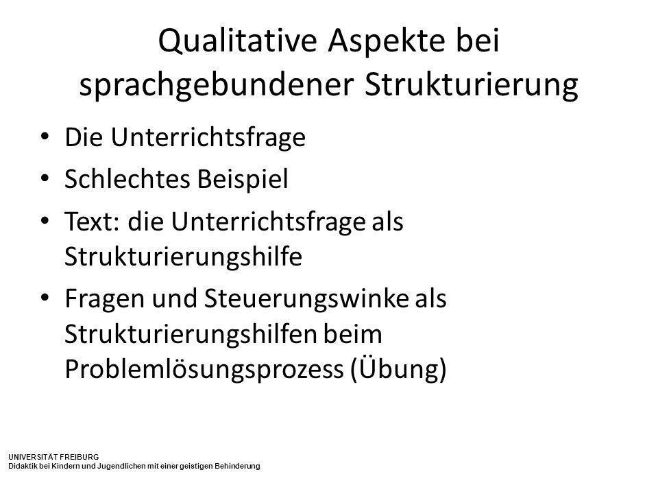 Qualitative Aspekte bei sprachgebundener Strukturierung
