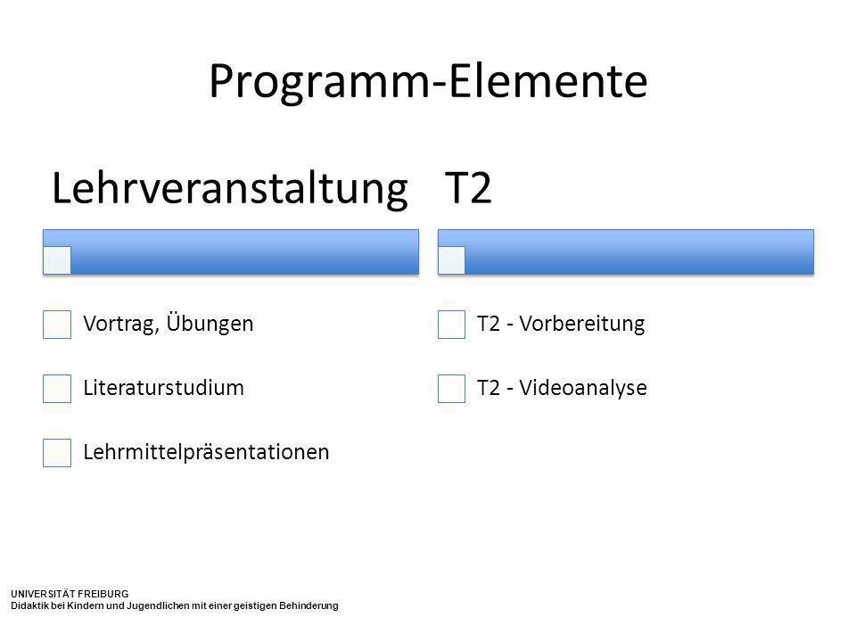 Programm-Elemente Lehrveranstaltung T2 Vortrag, Übungen
