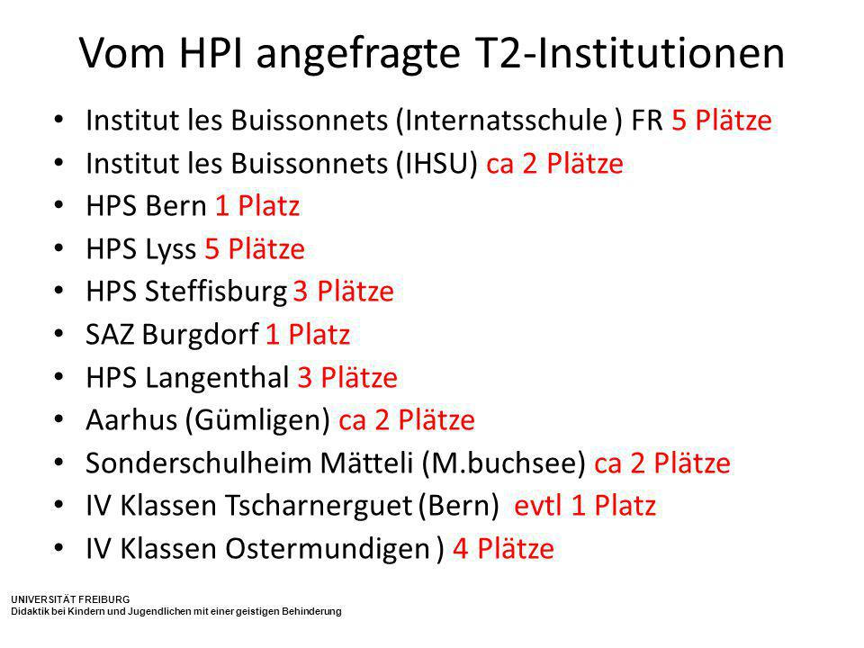 Vom HPI angefragte T2-Institutionen