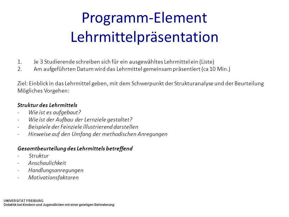 Programm-Element Lehrmittelpräsentation