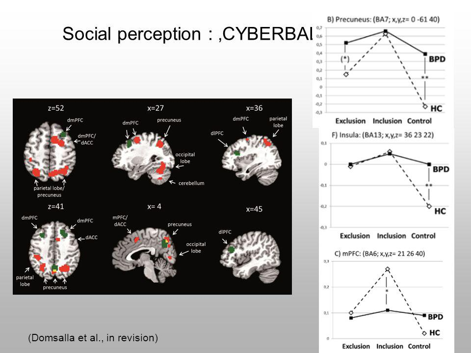 Social perception : 'CYBERBALL'