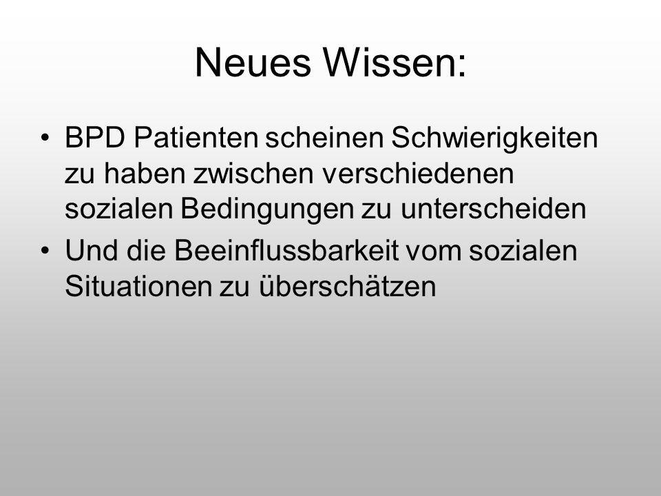 Neues Wissen: BPD Patienten scheinen Schwierigkeiten zu haben zwischen verschiedenen sozialen Bedingungen zu unterscheiden.