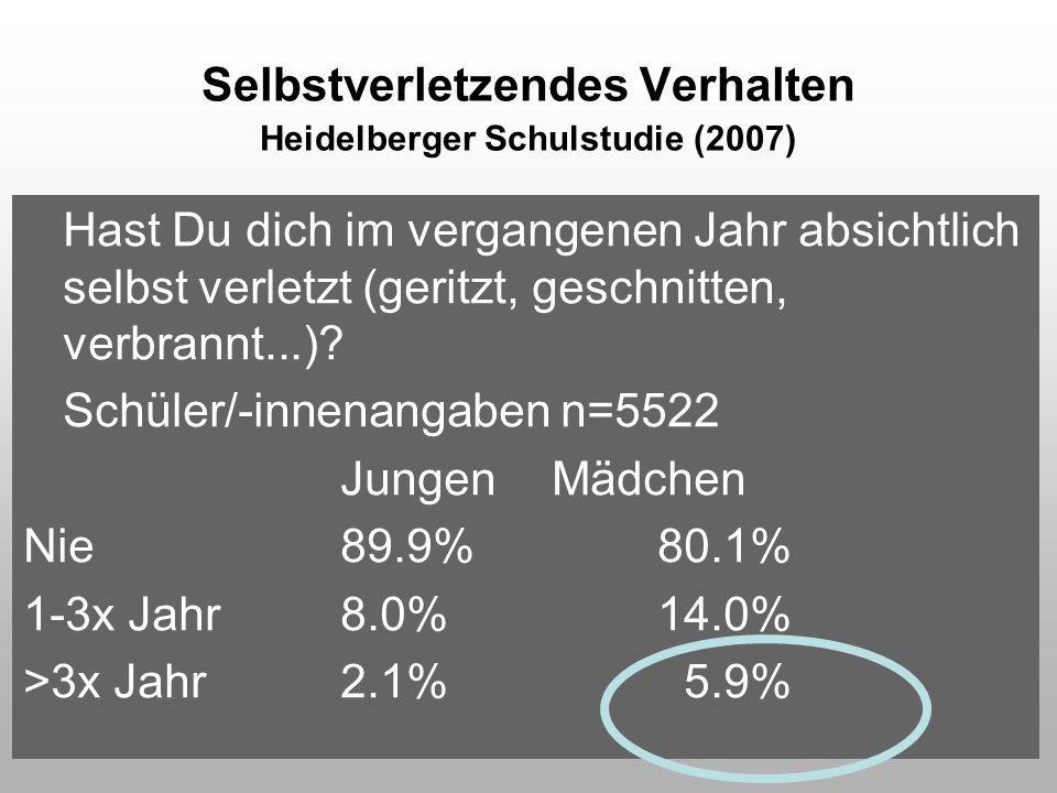 Selbstverletzendes Verhalten Heidelberger Schulstudie (2007)