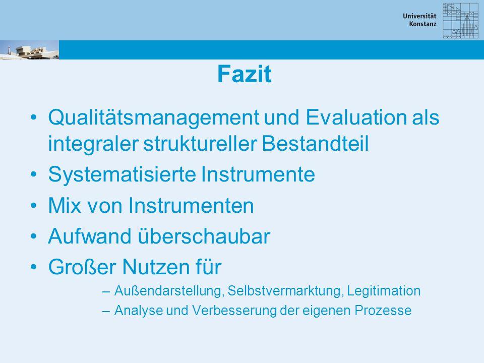 Fazit Qualitätsmanagement und Evaluation als integraler struktureller Bestandteil. Systematisierte Instrumente.