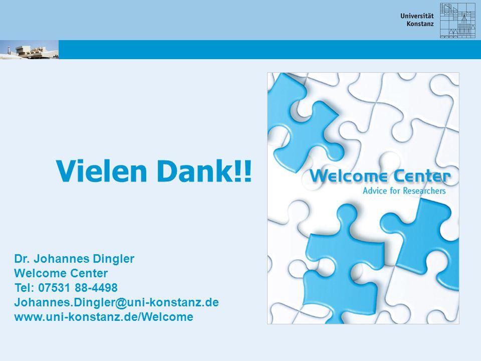 Vielen Dank!! Dr. Johannes Dingler Welcome Center Tel: 07531 88-4498