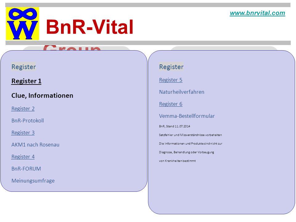Register Register Register 1 Clue, Informationen www.bnrvital.com