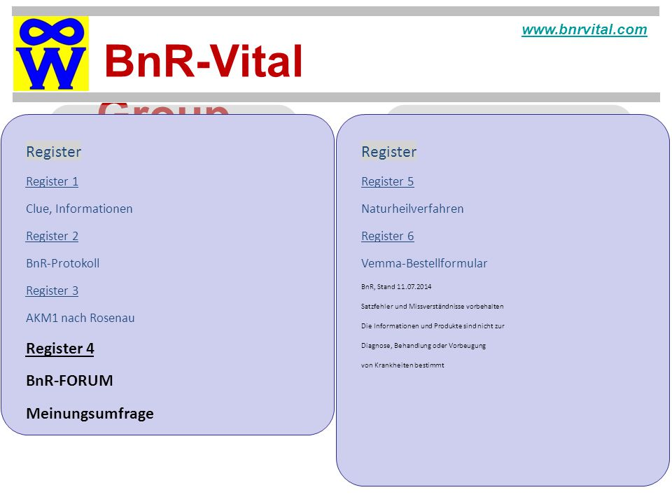Register Register Register 4 BnR-FORUM Meinungsumfrage