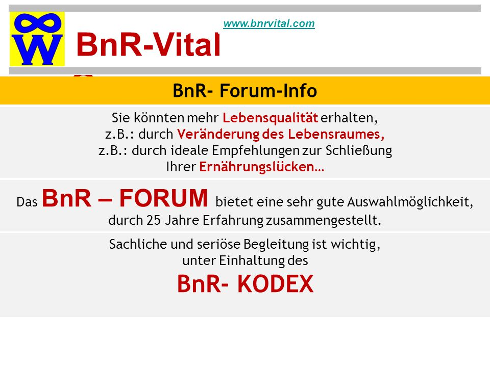 BnR- KODEX BnR- Forum-Info Sie könnten mehr Lebensqualität erhalten,