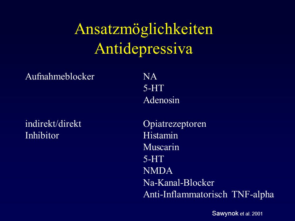 Ansatzmöglichkeiten Antidepressiva
