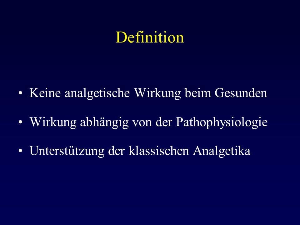 Definition Keine analgetische Wirkung beim Gesunden