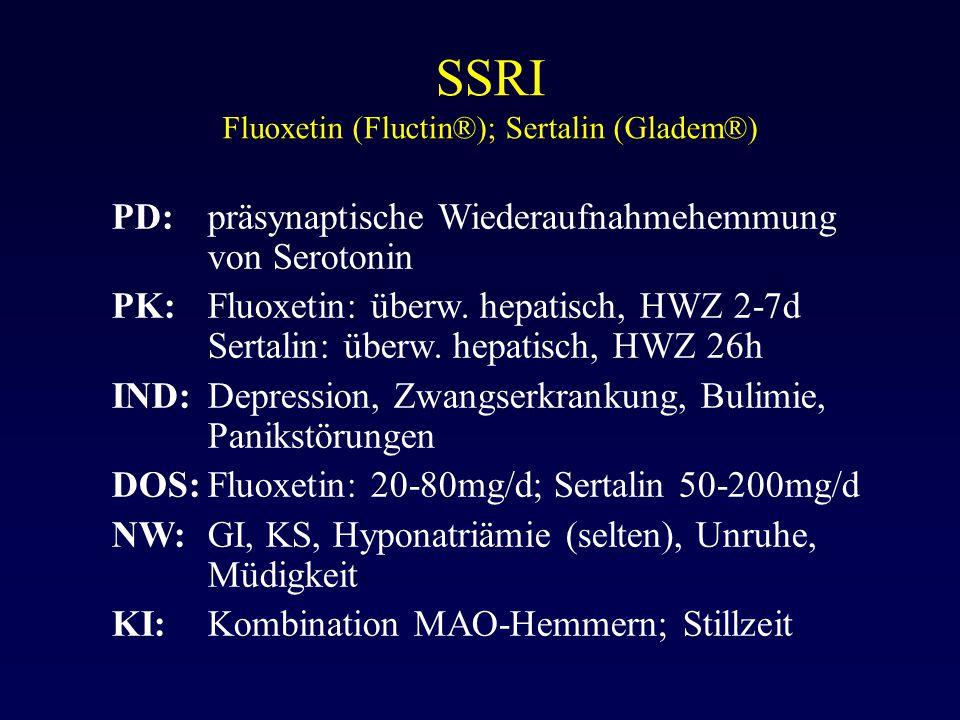 SSRI Fluoxetin (Fluctin®); Sertalin (Gladem®)