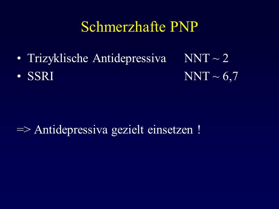 Schmerzhafte PNP Trizyklische Antidepressiva NNT ~ 2 SSRI NNT ~ 6,7
