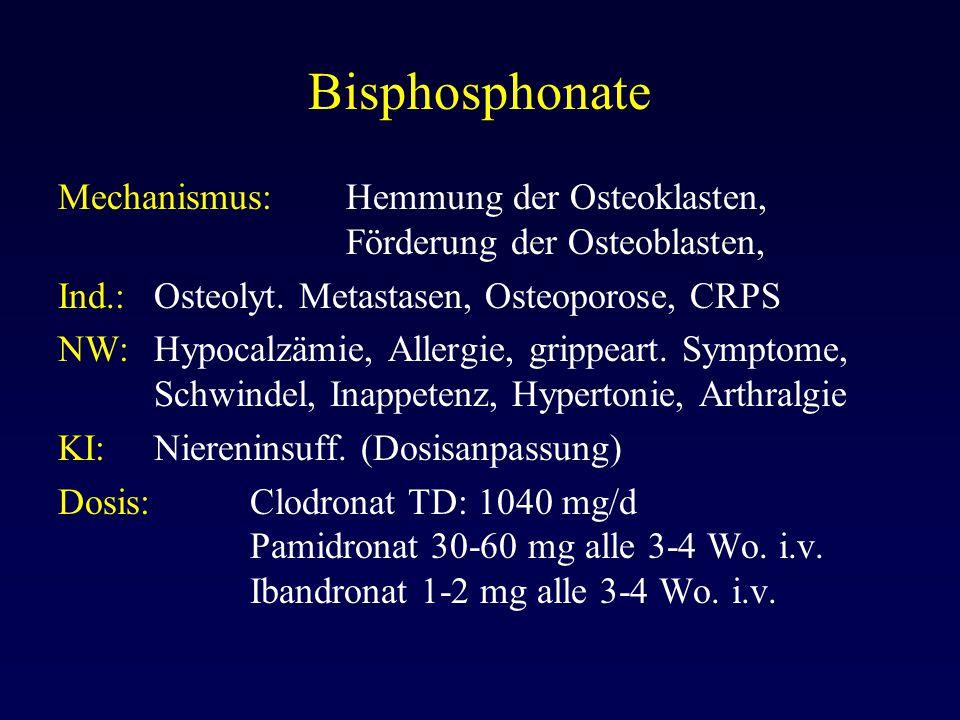 Bisphosphonate Mechanismus: Hemmung der Osteoklasten, Förderung der Osteoblasten, Ind.: Osteolyt. Metastasen, Osteoporose, CRPS.