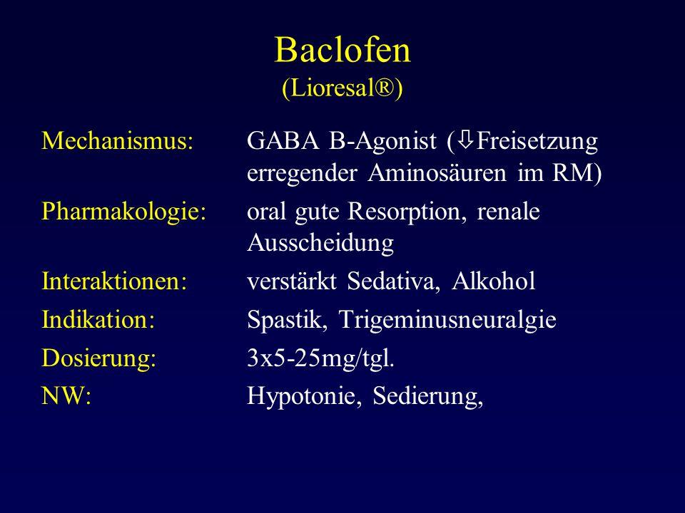 Baclofen (Lioresal®) Mechanismus: GABA B-Agonist (Freisetzung erregender Aminosäuren im RM)