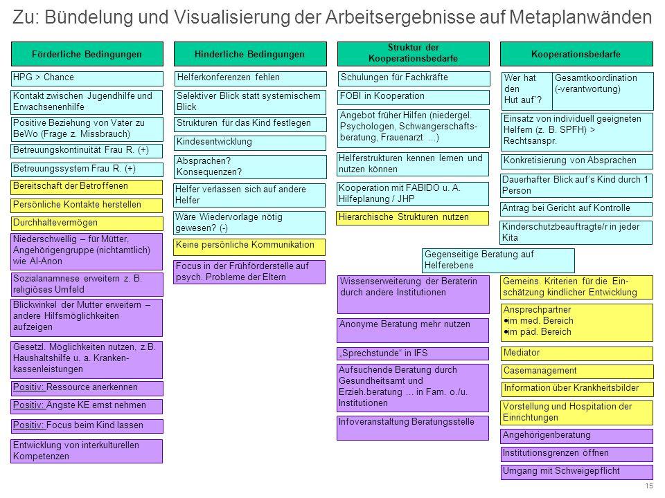 Zu: Bündelung und Visualisierung der Arbeitsergebnisse auf Metaplanwänden