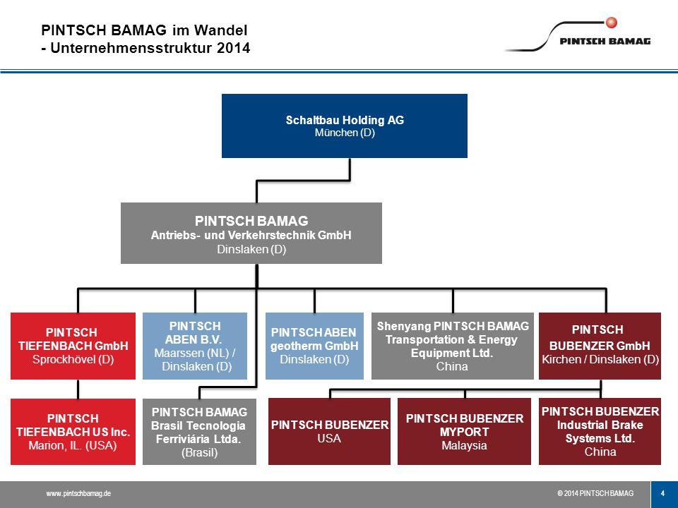PINTSCH BAMAG im Wandel - Unternehmensstruktur 2014