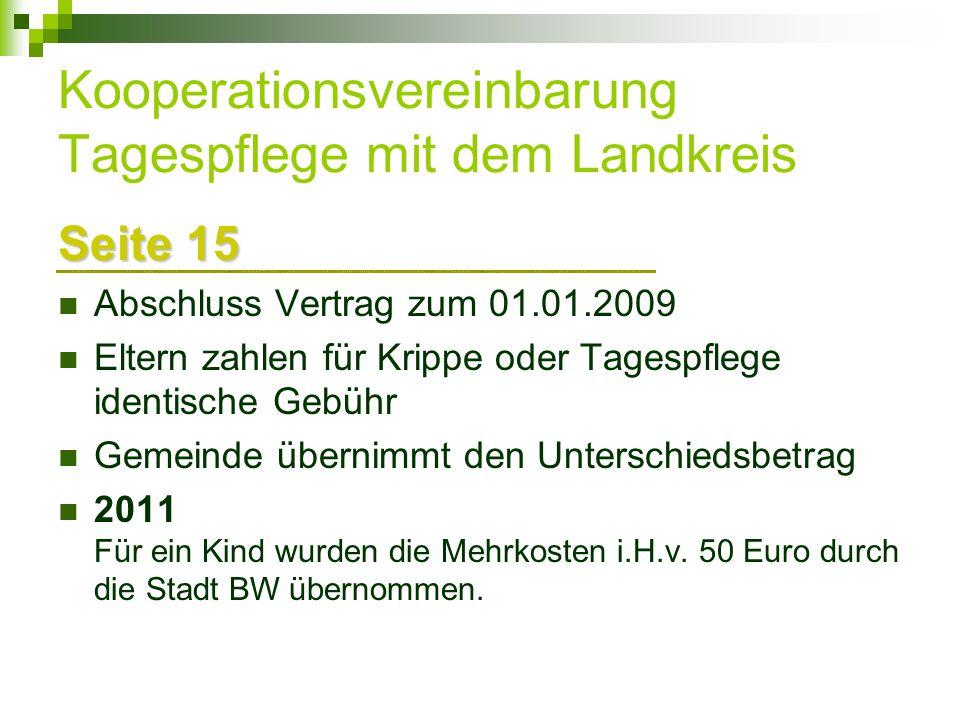 Kooperationsvereinbarung Tagespflege mit dem Landkreis
