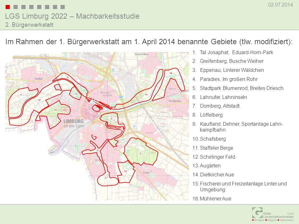 Im Rahmen der 1. Bürgerwerkstatt am 1. April 2014 benannte Gebiete (tlw. modifiziert):