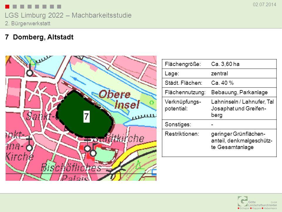 7 Domberg, Altstadt Flächengröße: Ca. 3,60 ha Lage: zentral