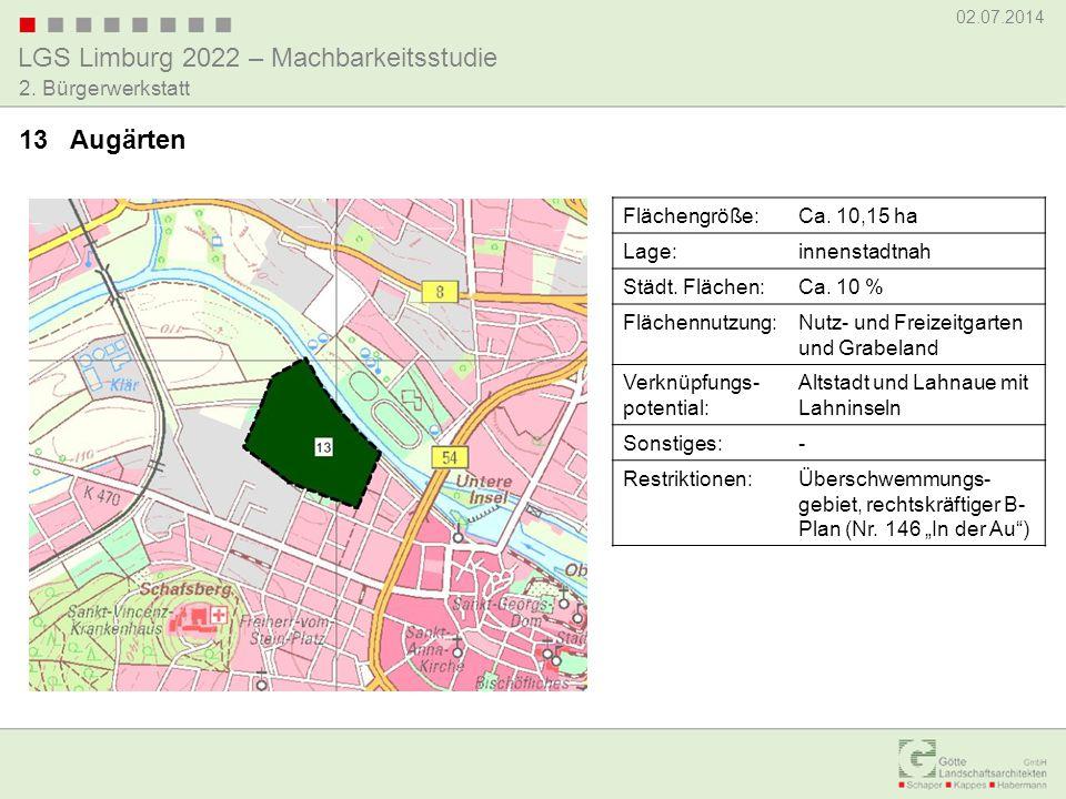 13 Augärten Flächengröße: Ca. 10,15 ha Lage: innenstadtnah