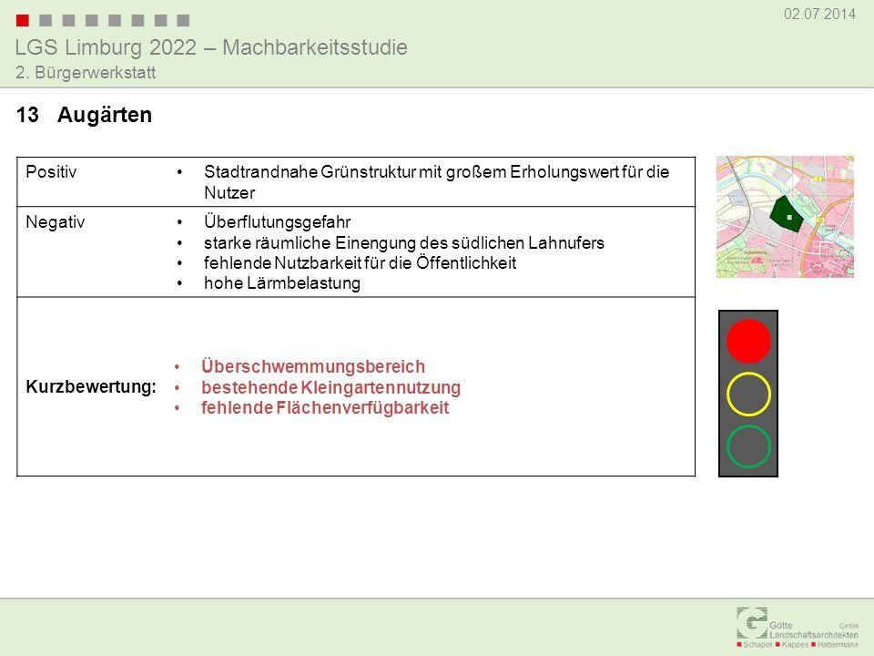 13 Augärten Positiv. Stadtrandnahe Grünstruktur mit großem Erholungswert für die Nutzer. Negativ.