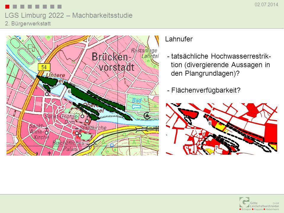 Lahnufer - tatsächliche Hochwasserrestrik- tion (divergierende Aussagen in den Plangrundlagen)