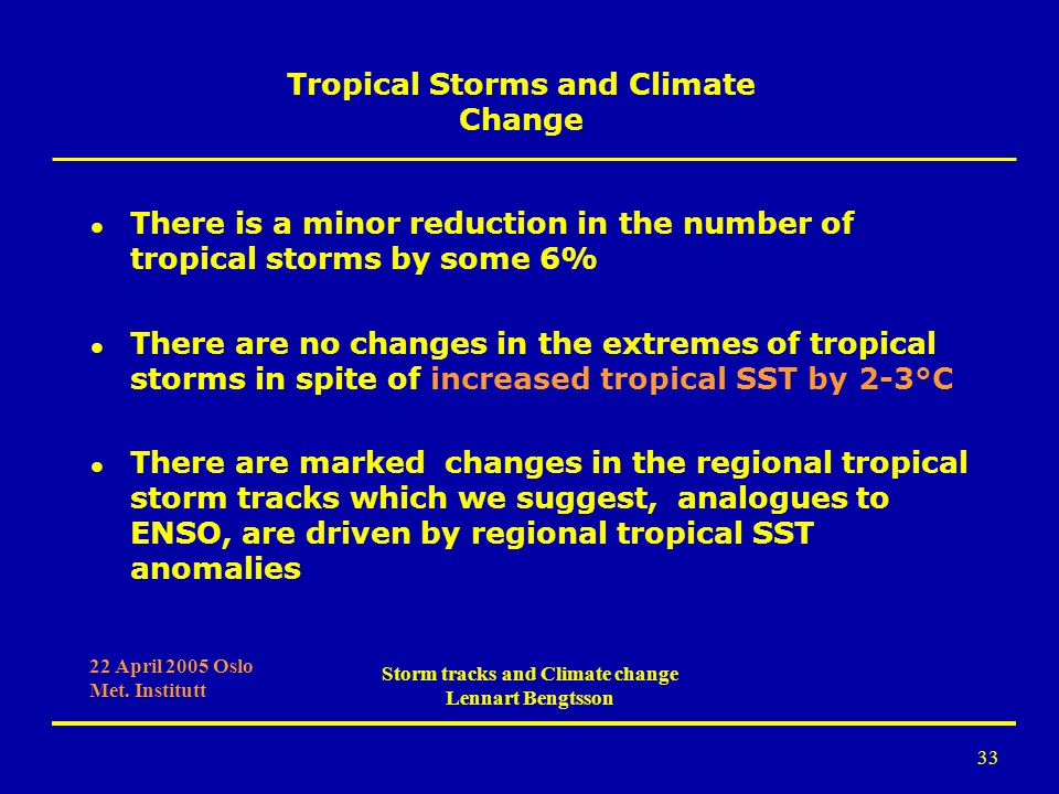 Tropical Storms and Climate Change Storm tracks and Climate change