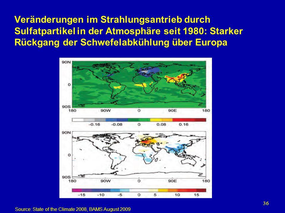 Veränderungen im Strahlungsantrieb durch Sulfatpartikel in der Atmosphäre seit 1980: Starker Rückgang der Schwefelabkühlung über Europa