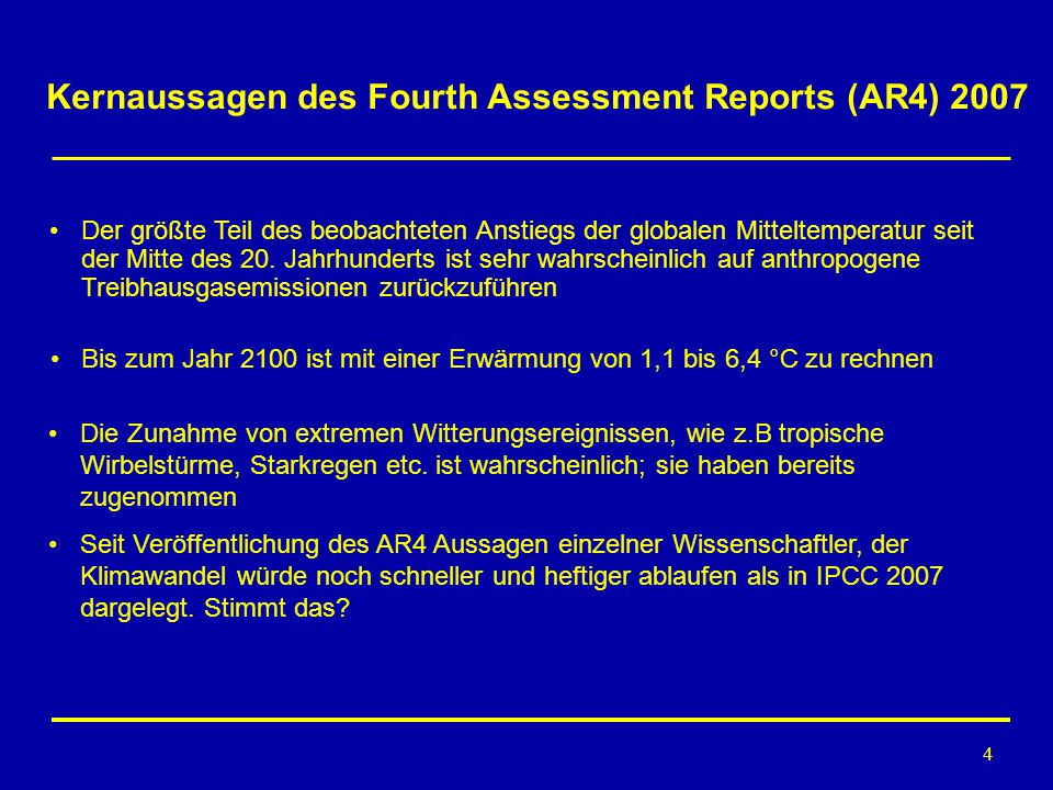 Kernaussagen des Fourth Assessment Reports (AR4) 2007