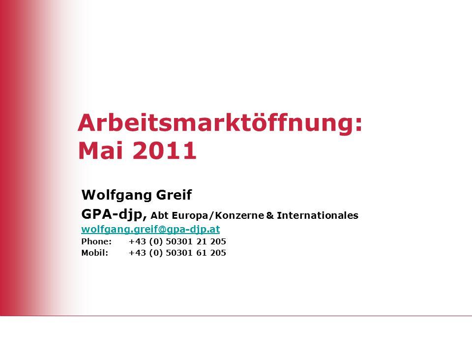Arbeitsmarktöffnung: Mai 2011