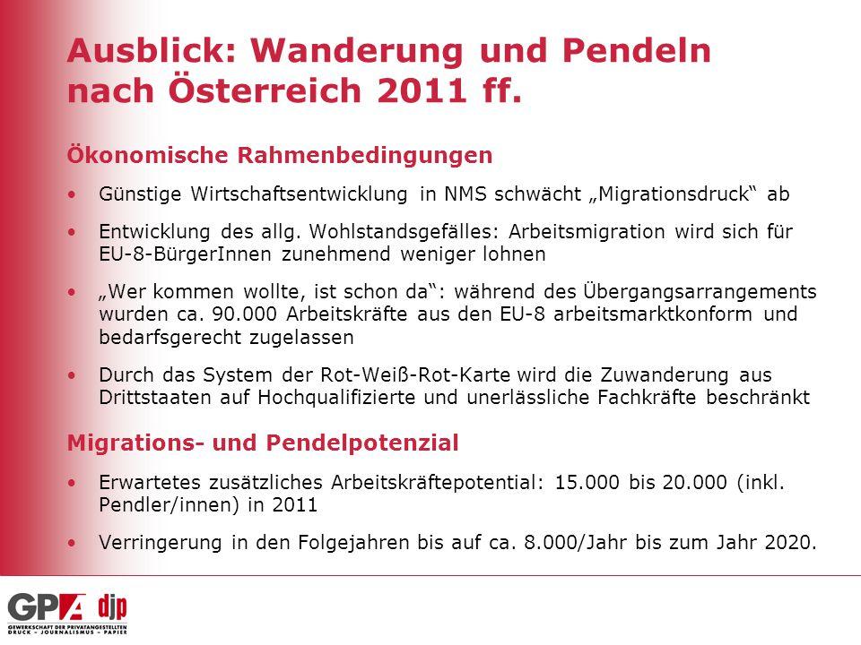 Ausblick: Wanderung und Pendeln nach Österreich 2011 ff.
