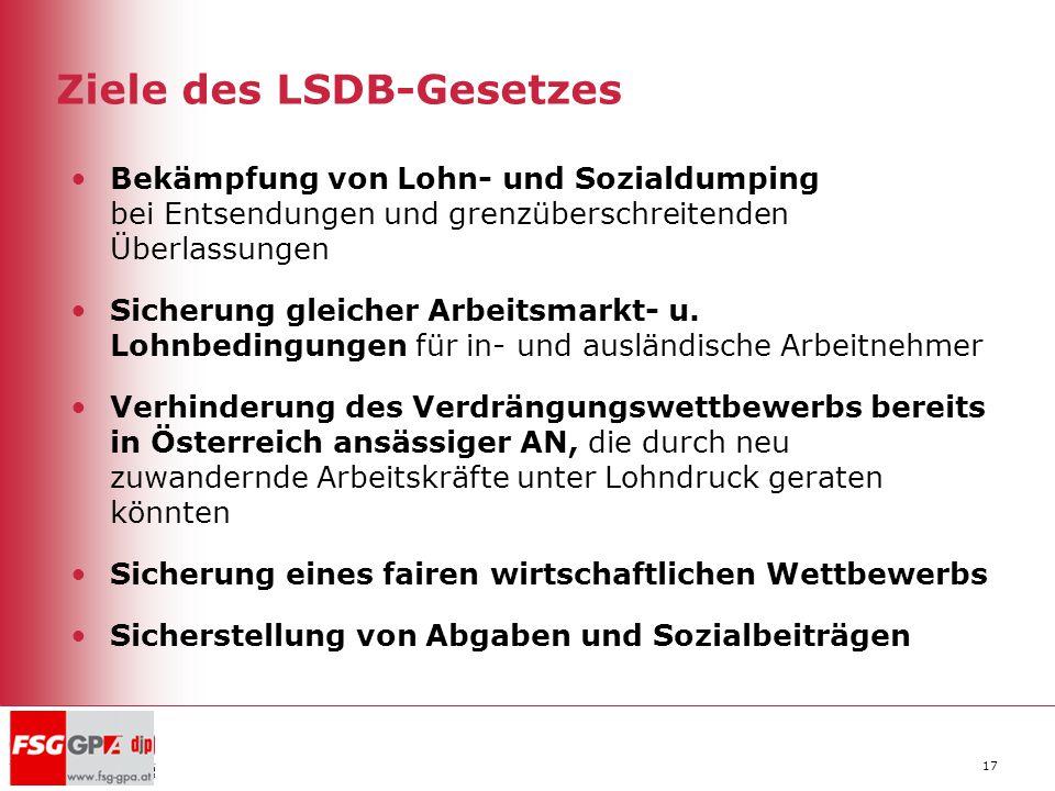 Ziele des LSDB-Gesetzes