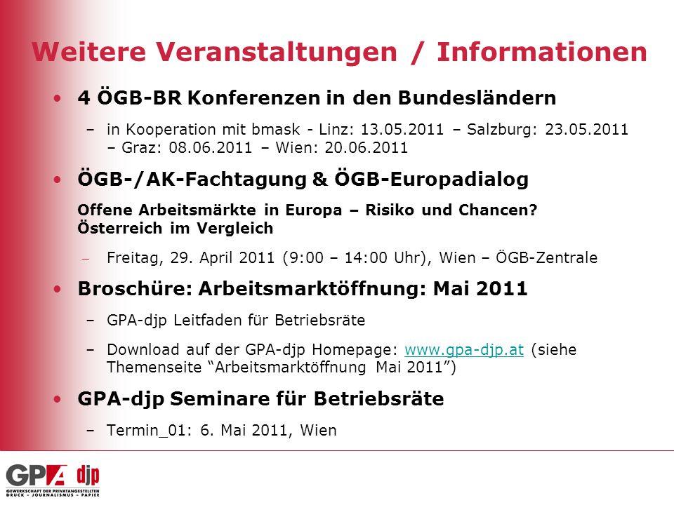 Weitere Veranstaltungen / Informationen