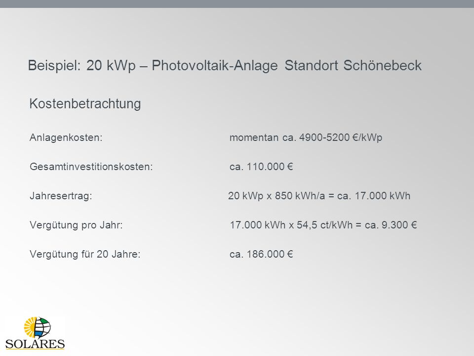 Beispiel: 20 kWp – Photovoltaik-Anlage Standort Schönebeck