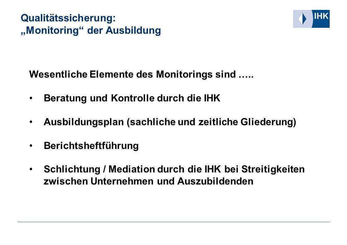 """Qualitätssicherung: """"Monitoring der Ausbildung"""
