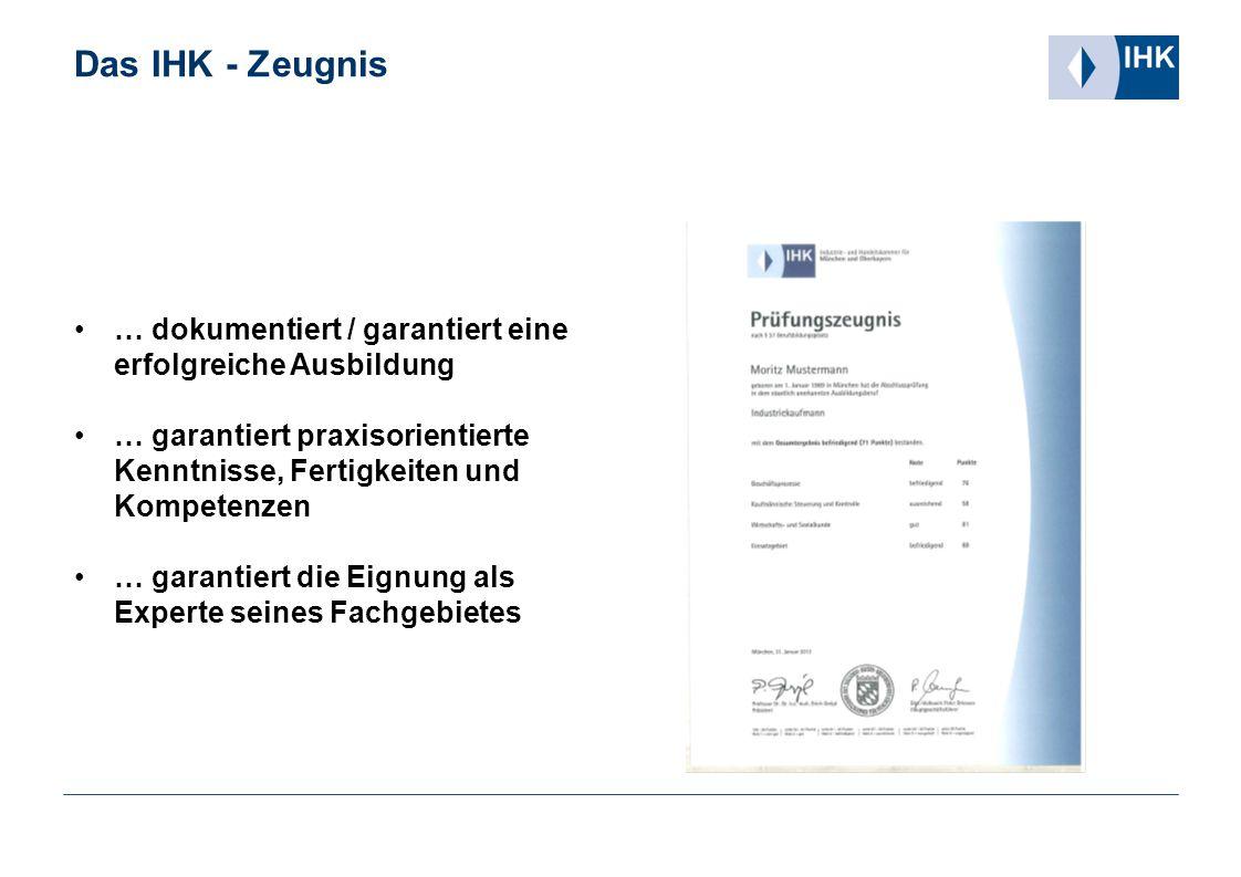 Das IHK - Zeugnis … dokumentiert / garantiert eine erfolgreiche Ausbildung. … garantiert praxisorientierte Kenntnisse, Fertigkeiten und Kompetenzen.