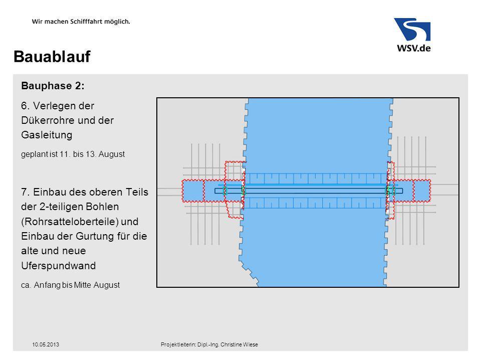Bauablauf Bauphase 2: 6. Verlegen der Dükerrohre und der Gasleitung