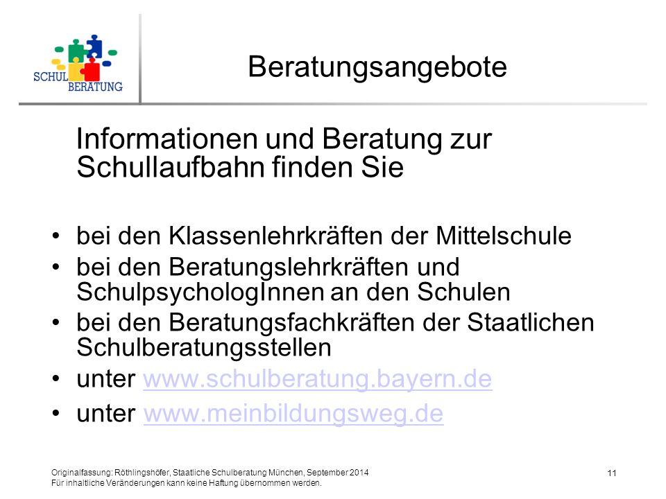 Informationen und Beratung zur Schullaufbahn finden Sie