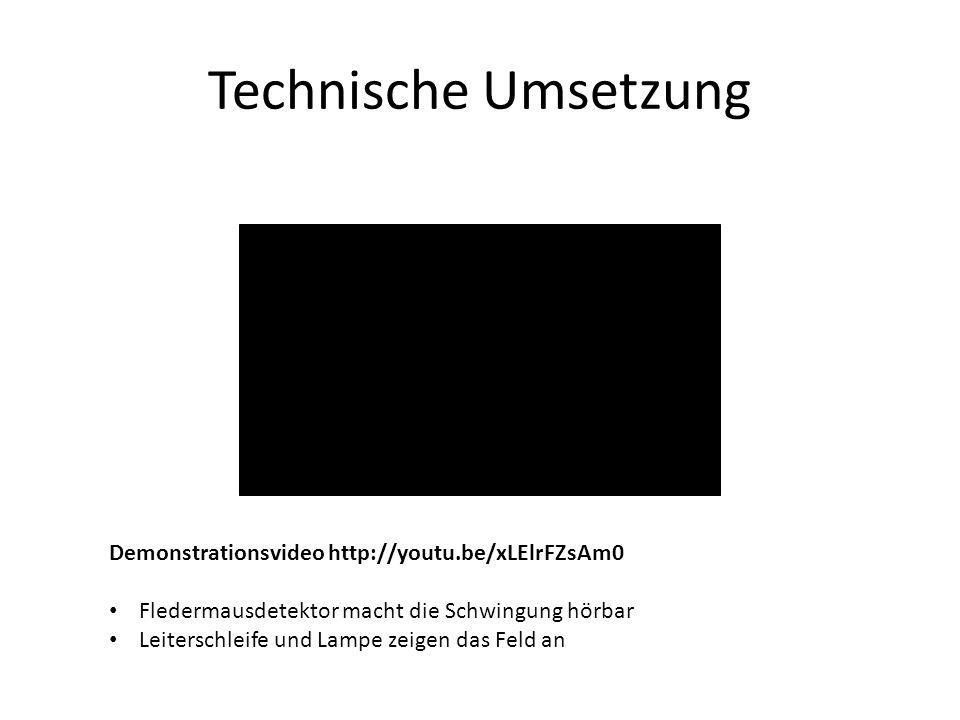 Technische Umsetzung Demonstrationsvideo http://youtu.be/xLElrFZsAm0