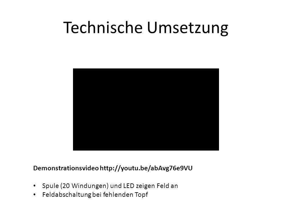 Technische Umsetzung Demonstrationsvideo http://youtu.be/abAvg76e9VU