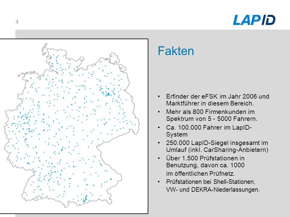 Fakten Erfinder der eFSK im Jahr 2006 und Marktführer in diesem Bereich. Mehr als 800 Firmenkunden im Spektrum von 5 - 5000 Fahrern.