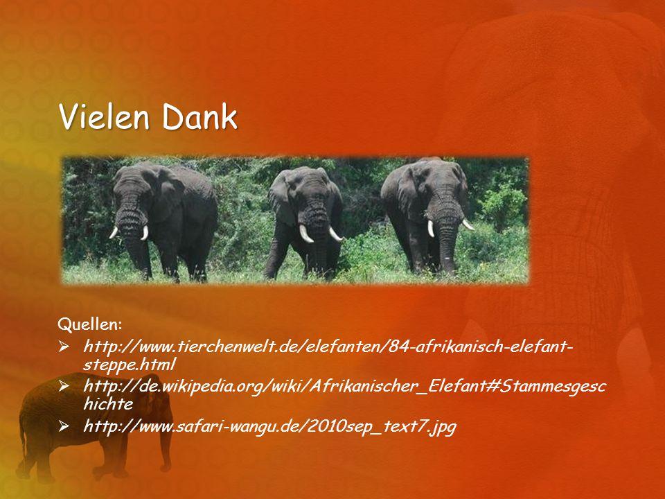 Vielen Dank Quellen: http://www.tierchenwelt.de/elefanten/84-afrikanisch-elefant-steppe.html.